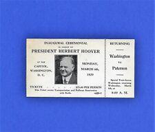 1929 Ticket for Special Train, NJ to Washington & return - Hoover Inauguration