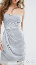 BNWT RELIGION STRAPLESS DRESS SZ 14 L RRP £90 WHITE GREY BANDEAU CHIFFON OVERLAY
