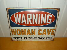 Large Retro Style Metal Wall Plaque Warning Woman Cave 30x40cms