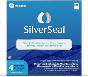 Medagel SilverSeal Burn and Wound Dressing Hydrogel Pads (4 Count)