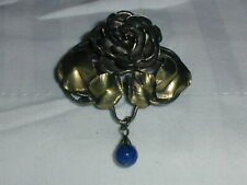 ART NOUVEAU JUGENDSTIL GES GESCH 830 SILVER LAPIS DANGLE BROOCH!