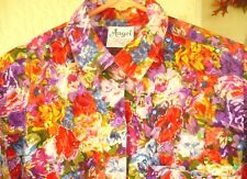 Vtg 90S Angel M S Summer Button Down Red Multi Color Floral Beaded Blouse Women