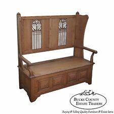 Jonathan Charles Tudor Oak Gothic Style Settee w/ Storage