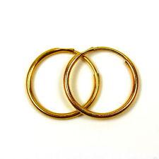 9ct gold hoop earrings 14 mm medium weight sleeper hoops (1 pair)