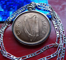 """1968 Irish Red Bronze Mint NEW Penny Pendant on 30"""" 925 Sterling Silver Chain"""