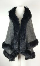 Talia Benson Ladies Grey Wool Blend Tweed  Cape Poncho Faux Fur Trim One Size