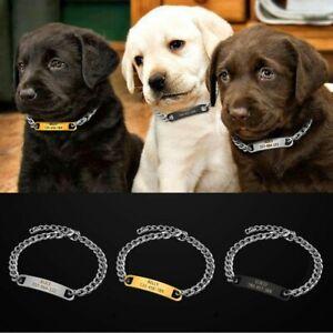 Small Dog Choke Chain Collars & Personalised Name ID Tag Pet Chihuahua Yorkie