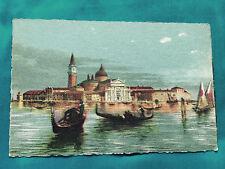 Old Vintage Boat Postcard Venezia Isola S Giorgio Venice Italy Gondola Color