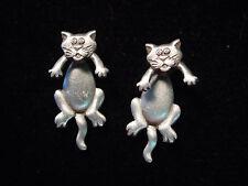 """""""JJ"""" Jonette Jewelry Silver Pewter Small 'CAT 3-D' Pierced Earrings"""