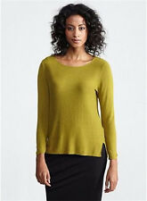 NWT $238 EILEEN FISHER Cozy Viscose Stretch Knit Top TURMERIC Green XS