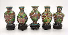 CLOISONNE SET VASI VASETTI  LITTLE VASES JARS POTS VINTAGE ORIGINAL ENAMEL CHINA