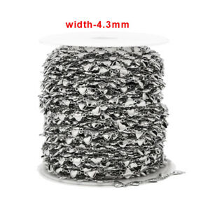 1meter Silver Stainless Steel Heart Charms Handmade Chain for DIY Jewelry Making