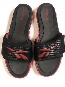 Reebok Men's Black/Red Adjustable Slide Sandals Size 14