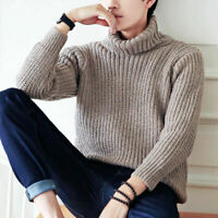 Men Winter Warm Casual Turtleneck Knit Sweater Pullover Knitwear Jumper Coat Top