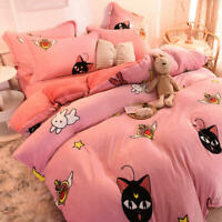 Sailor Moon Luna Flannel Bedding Duvet Cover Sheet Soft Winter Warm Home Decor