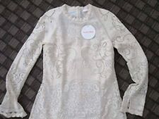 See by Chloe Off White Semi Sheer Tiered Pointelle Scalloped Lace Mini Dress 40
