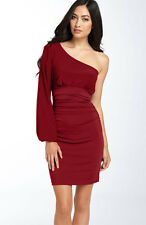 NEW MAGGY LONDON One Shoulder Matte Jersey DRESS SIZE 10 RED NORDSTROM