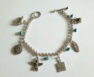925 Silber Armband Bettelarmband mit Anhängern + Türkis Indianer Motive