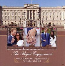 Antigua & Barbuda 2018 MNH Prince Harry Meghan Engagement 3v M/S Royalty Stamps