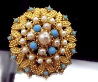 Vintage Gold tone Turquoise and Pearl glass brooch