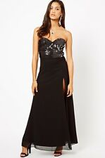 Stunning *Lipsy * (size Uk 8) Black Sequin Bust Maxi Dress , New