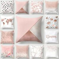 18 Inch Simple Pink Throw Pillow Case Cushion Cover Pillowcase Home Sofa Decor