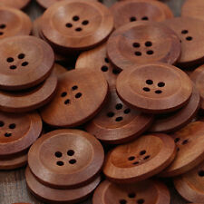 50X Bulk Wooden 4 Holes Round Sewing Buttons Clothes DIY Craft Scrapbooking 25mm