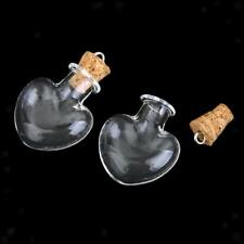 10 Tiny Love Heart Glass Bottle Cork Vials Charm Lucky Wish Necklace Pendant
