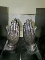 CAST IRON BOOKENDS PRAYING HANDS BRUTALIST STYLE MID-CENTURY MODERN
