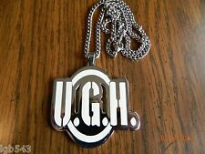 Used-Underground Hustlin Chrome plated Pendant w/ 24 inch cuban chain . Blaze