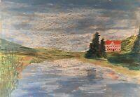 Landschaft mit See und Haus Expressiv Anonym 35 x 50