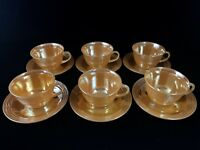 FIRE KING ANCHOR HOCKING Cups & Saucers PEACH LUSTER 3 Bands MARIGOLD 6pcs Art