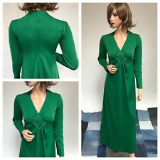Vintage 1970s Beeline Fashions Golden Bee Collection Vintage Green Maxi Dress.