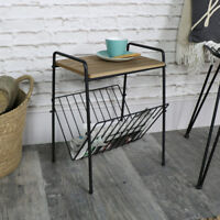 Vintage retro wood metal side table magazine rack holder living room storage