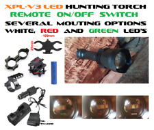 3 (tri) Colour (Red Green White) Hunting Torch/Flashlight, Mount/Switch Options