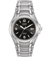 Citizen Eco-Drive BM6060-57F Men's Dress Black Dial Titanium Bracelet Date Watch