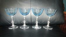 "4 Fostoria Navarre Blue Crystal Champagne Sherbet Glasses 5 1/2"" Etched"