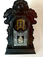 Vintage Ansonia Gothic Black Clock. Wooden Cased With Key.Working. Chimes