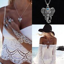 Bohemian blue turquoise silver tribal patterned elephant pendant & long necklace