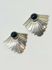 black onyx earrings vintage sterling silver