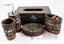 Western Turquoise Cross Bathroom Accessory Set 5 Pieces Floral Studs Faux Wood