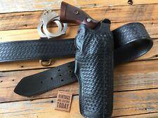 """Vintage Tex Shoemaker Black Basketweave Leather Duty Holster for S&W K Frame 6"""""""