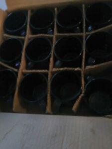 New Cobalt Blue Glass Coffee Cup Mug 13 oz  NIB BOX OF 12