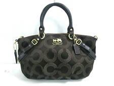 Auth COACH Madison Dotted Op ArtSofia 15935 DarkBrown Jacquard & Leather Handbag