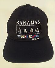 Bahamas Black Embroidered Snapback Hat Cap Nautical Flags Sailboats Dorsett Tees