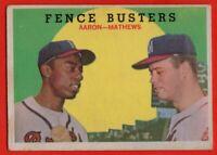 1959 Topps #212 Hank Aaron VG-VGEX MARKED Eddie Mathews Milwaukee Braves HOF