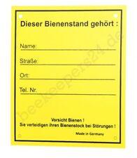 """Schild """"Bienenstand"""", 12,5 x 15 cm, Warnschild Bienen mit Adressfeld"""