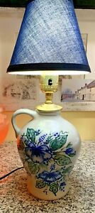 "Stoneware Jug Pottery Table Lamp Hand Painted Blue Raised Flowers 10 1/2"" Tall"