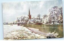 *River Avon in Winter Stratford London England UK Railway Vintage Postcard A11