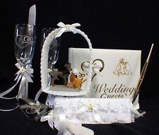 Lady & the Tramp Wedding Cake Topper Glasses knife set  book garter LOT DISNEY